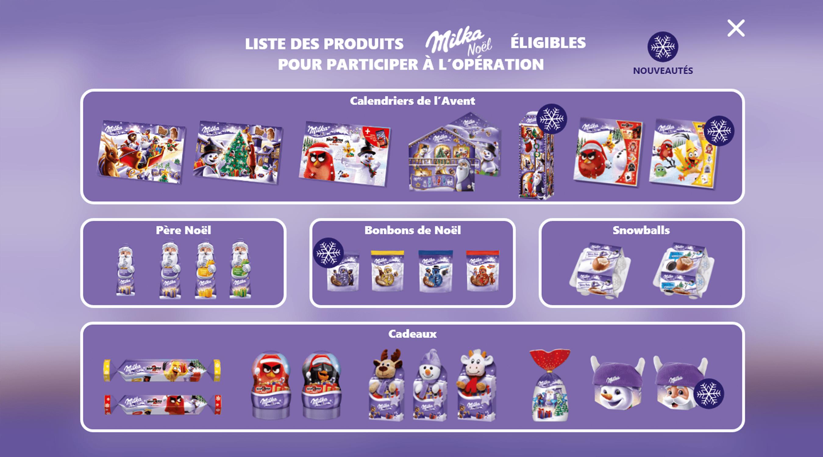 Nestlé Milka noel liste produits éligibles