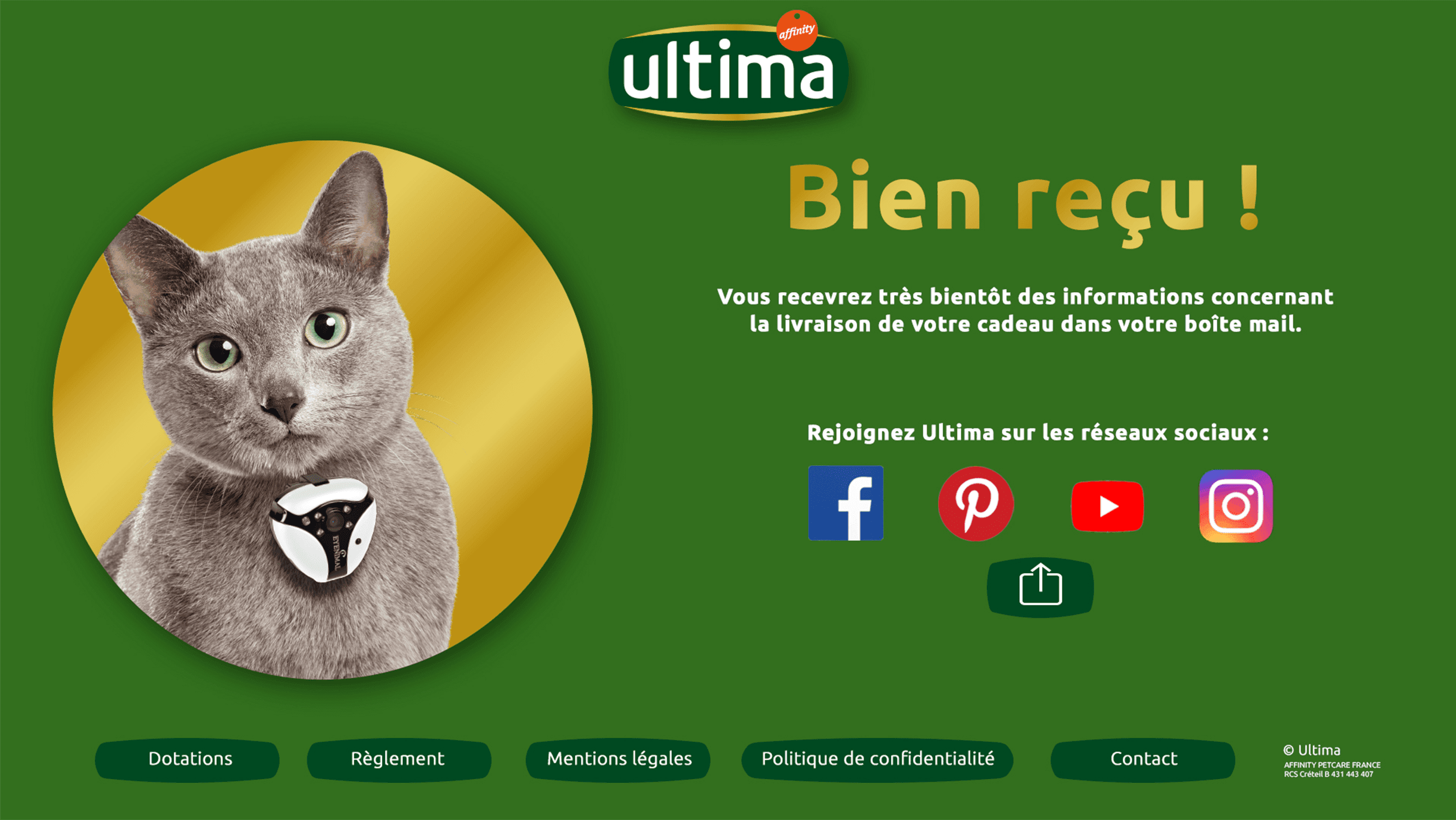 Ultima Chat page confirmation réception